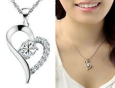 14K White Gold Cubic Zirconia Crystal Love Heart Pendant Necklace Chain Gem