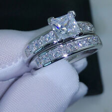 Sparkly White Crystal Clear Shiny Zircon Silver Colour Wedding Band Ring L1/2, 6
