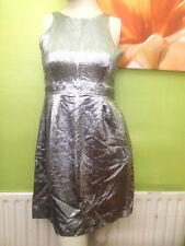French Connection Metallic Silver Tulip Sun Dress! Size 8