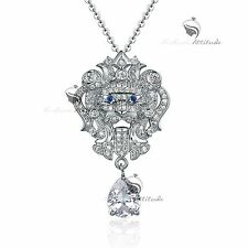 18k white gold gf SWAROVSKI crystal lion pendant sapphire revival necklace