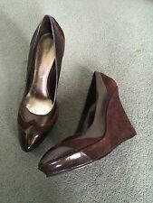 NEW Nine West Brown Leather Suede Patent Wedge Heels Size 4 (6.5m)