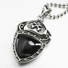 pendant necklace stainless steel onyx gothic vintage silver style cross crown