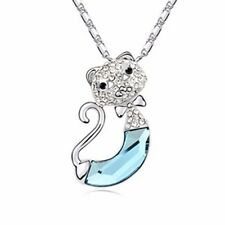 18K Gold GP Swarovski Crystal Unique Cute Cat Pendant Necklace Blue