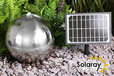 Silver Sphere Water Feature Fountain Solar Power Cascade Stainless Steel Garden