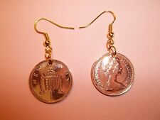 ONE PENNY COIN DROP EAR RINGS - 1973 - 43rd BIRTHDAY