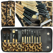 BF New 12 pcs Makeup Brush / Applicator Set With Case African Leopard #177L