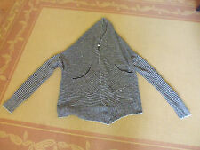 LADIES BLACK &GREY ACRYLIC/ NYLON LONG SLEEVE CARDIGAN BY VALLEYGIRL SIZE S 8/10