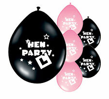 8 x HEN NIGHT LIGHT PINK & BLACK BALLOONS HEN PARTY DECORATIONS (PA)