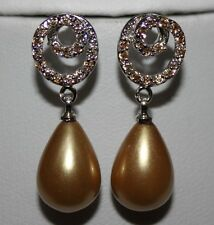 Gold Pearl Champagne Cubic Zirconia 18Ct White Gold Plated Drop Dangle Earrings