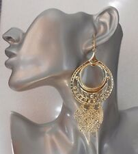 Fab Lightweight Gold Dangly Hoop Drop Earrings - Clip-on By Request