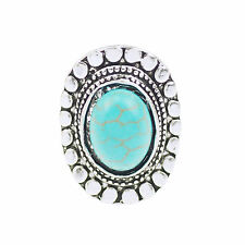 Women Stylish Jewelry Oval Turquoise Flower Design Tibetan Silver Finger Ring