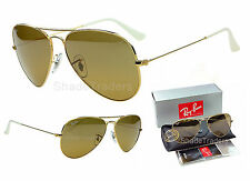 Ray Ban AVIATOR SUNGLASSES GOLD_SILVER MIRROR over CRYSTAL BROWN 3025 001 3K 58