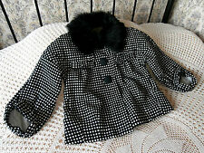 Black & white tweed look jacket by RIVER ISLAND Wool mix Faux fur collar Size10