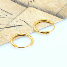 18K Gold Filled Men/Women Hoop Sleeper Earrings, 12mm Hinged-Wholesale Price