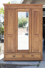 antique american pine armoire with mirrored door antique english pine armoire