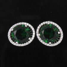 Luxury Swarovski crytal band 18k white gold filled round emerald stud earring