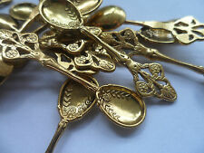 10 x CRAFT Spoons~antique Gold 60x16mm~Charm ~Jewellery~Scrapbooking,Christening