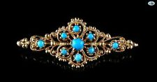 Marvelous Persian Vintage Turquoise 18K Yellow Gold Brooch 4.35 Grams