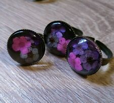 Pretty handmade real flower ring purple pink adjustable