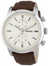 Fossil FS4865 Townsman Chronograph White Dial Brown Leather Men's Watch