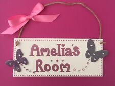 Personalised children's Kids name bedroom door wall sign plaques for girls bling
