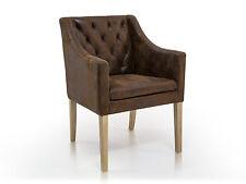 CARLOS Polstersessel mit Armlehnen Stuhl Polsterstuhl Microfaser Vintage Braun