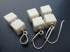 Cube White Coral Earrings and Pendant Set 925 Sterling Silver