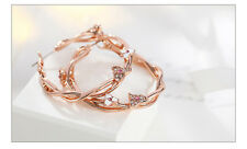 Stunning 18K Rose Gold Plated Crystal Enamel Flower Hoop Earrings