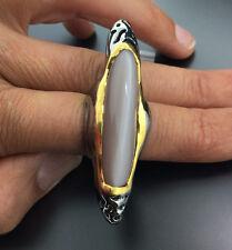 *XXL Ring zum Verlieben*MONDSTEIN Ring 44x10 mm Unikat ! Silber/vergoldet