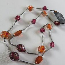 LONG BOHEMIAN BOHO AMBER & PLUMB COLOUR PAINTED GLASS  BEAD NECKLACE New pouch