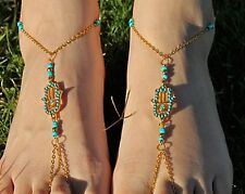 Barefoot Sandal Footless Anklet Toe Ring hippie Jewelry Boho Bohemian Hamsa Hand