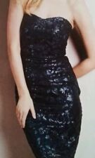 NEXT SIZE 16 TALL NAVY BLUE ALL OVER SEQUIN BANDEAU STRAPLESS DRESS BNWT