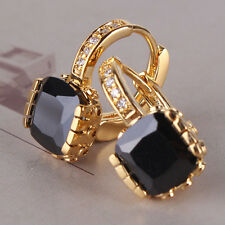 Charming lady 24K yellow gold filled black topaz brilliant band hoop earring