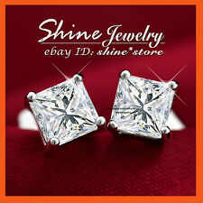 9K WHITE GOLD FILLED SILVER SQUARE STUD 1CT DIAMOND SOLID MENS WOMENS EARRINGS
