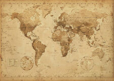 WORLD MAP WALL CHART POSTER VINTAGE ANTIQUE 60cm x 90cm EDUCATIONAL GUIDE #020