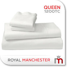 1200TC EGYPTIAN COTTON QUEEN SIZE BED SHEET SET - WHITE
