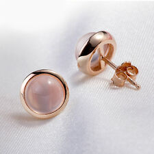 Fashion Women Rose Gold Plated Earrings Jewelry Pink Crystal Round Stud Earrings