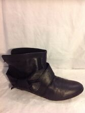 Office Girl Black Ankle Leather Boots Size 38