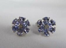 Tanzanite and Diamond Floral Cluster Sterling Silver Stud Earrings