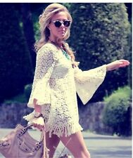 Crochet Cream Mesh Lace Floral Tassel Fringe Boho Beach Kimono Bell Sleeve Dress