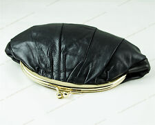T001a- Black LADY SOFT REAL LEATHER PURSE BALL CLASP CLUTCH  Coin Holder WALLET