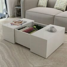 Glossy White Coffee Table Modern Wood Gloss Furniture Living Room