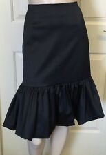 Charlie Brown Black Satin Fitted Wiggle Skirt Fully Lined Sz 10