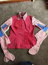 SAVE THE QUEEN Ladies Punk Rock Patchwork Top / Shirt / Blouse - Med.