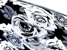 Jersey Viskosejersey Blumen Rosen schwarz weiß grau,0,5x1,45m Meterware 14848
