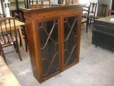 3' Antique Astragal Glazed Dresser Top Lock Key Bookcase Cabinet Unit Cupboard