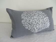 White Painterly Coral Storm Grey Cotton Rectangular/Oblong Cushion Cover 30x50cm