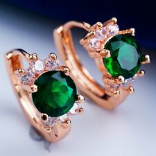Romantic Gold Plated Cubic Zircon Deep Green Hoop Earrings Women Girls H2250