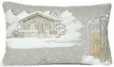 Cottage Cushion Cover Xmas Winter Designers Fabric Grey Throw Pillow Case