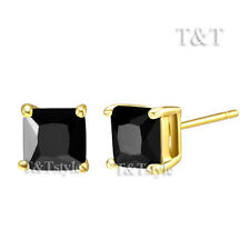 T&T 14K Gold GP 6mm Black CZ Square Stud Earrings (ES47)